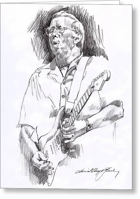 Eric Clapton Blue Greeting Card by David Lloyd Glover