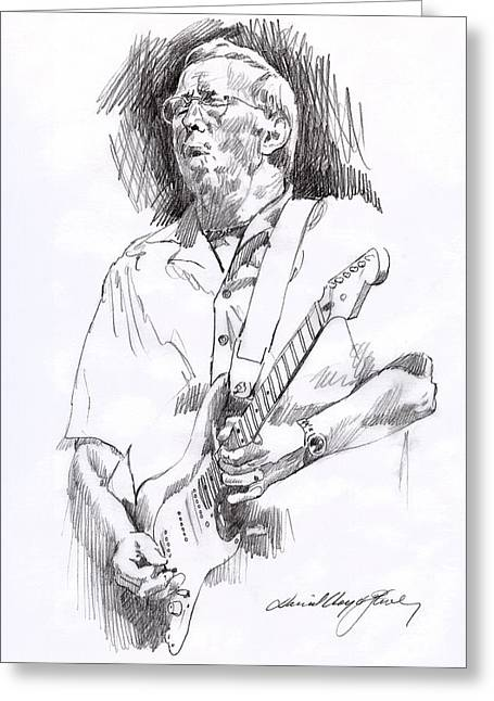 British Celebrities Greeting Cards - Eric Clapton Blue Greeting Card by David Lloyd Glover
