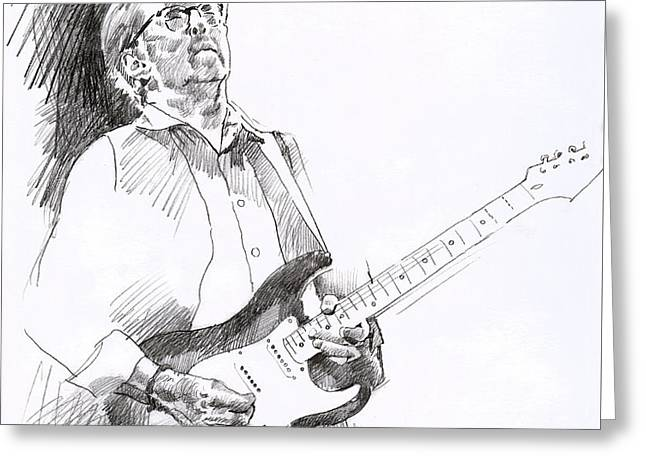 Player Drawings Greeting Cards - Eric Clapton Joy Greeting Card by David Lloyd Glover