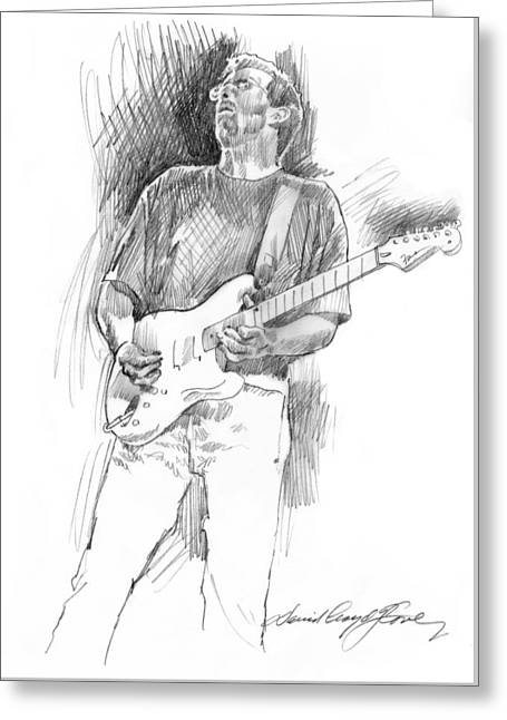 Player Drawings Greeting Cards - Eric Clapton Strat Greeting Card by David Lloyd Glover