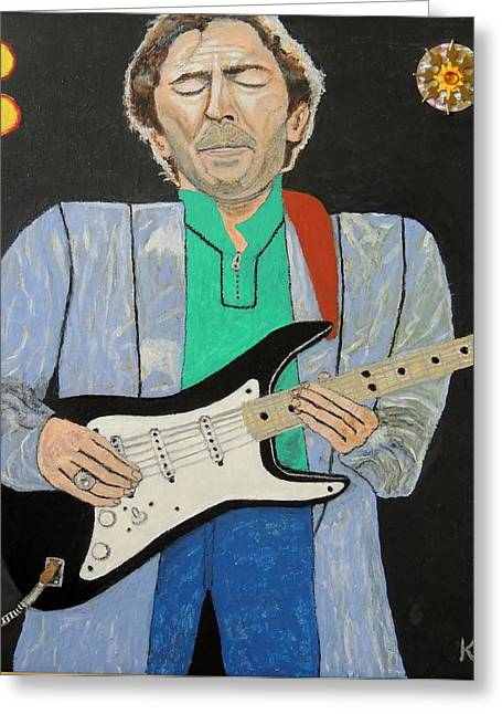 Slowhand Greeting Cards - Eric Clapton.Old slowhand. Greeting Card by Ken Zabel