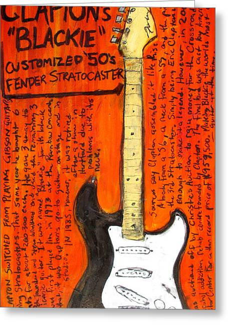 Eric Claptons Stratocaster Blackie Greeting Card by Karl Haglund