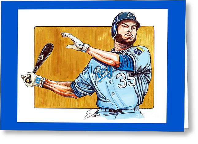 Autographed Baseball Greeting Cards - Eric Hosmer of the Kansas City Royals Greeting Card by Dave Olsen