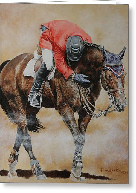 Stallion Greeting Cards - Eric Lamaze and Hickstead Greeting Card by David McEwen