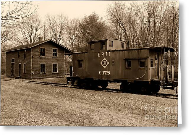Erie Rr Line Caboose In Black And White Greeting Card by Paul Ward