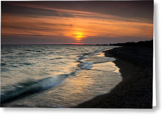 Warm Greeting Cards - Erieau Sunset Greeting Card by Cale Best