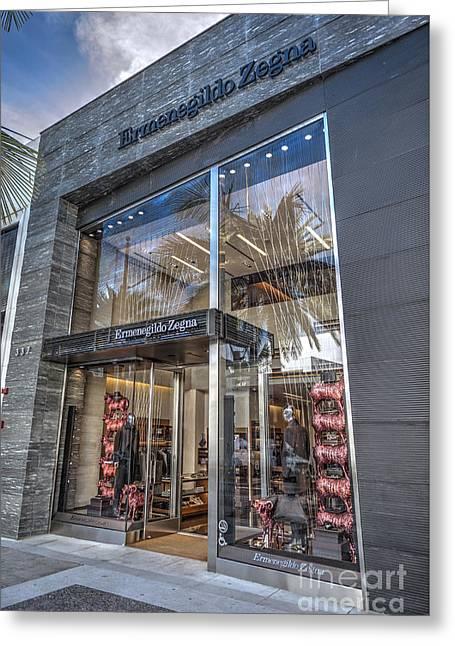 Ermenegildo Zegna Boutique Beverly Hills Greeting Card by David Zanzinger