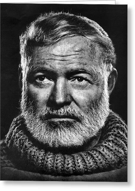 Ernest Hemingway Greeting Card by Daniel Hagerman