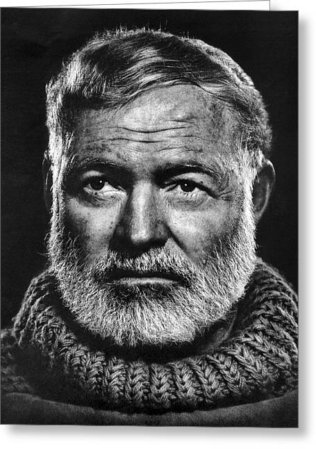 Wine Woman Greeting Cards - Ernest Hemingway Greeting Card by Daniel Hagerman