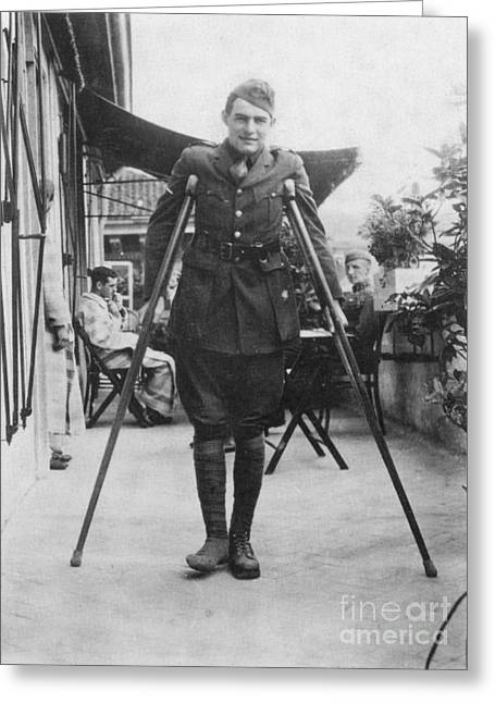 Crutches Greeting Cards - Ernest Hemingway Greeting Card by Granger