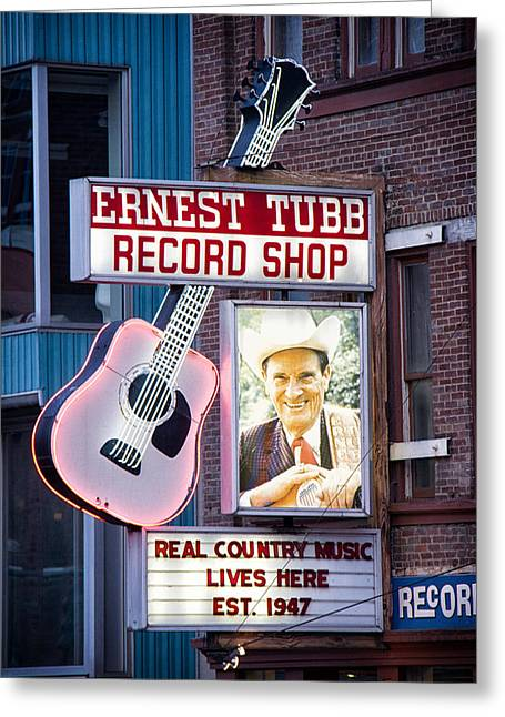 Live Music Greeting Cards - Ernest Tubb Record Shop Greeting Card by Mike Burgquist