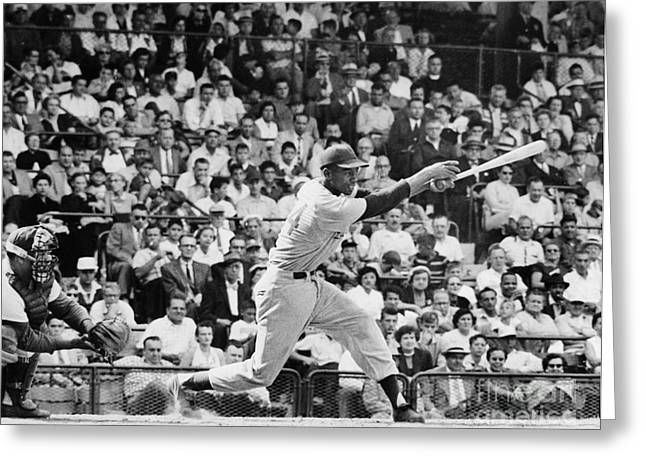 Chicago Cubs Stadium Greeting Cards - Ernie Banks (1931- ) Greeting Card by Granger