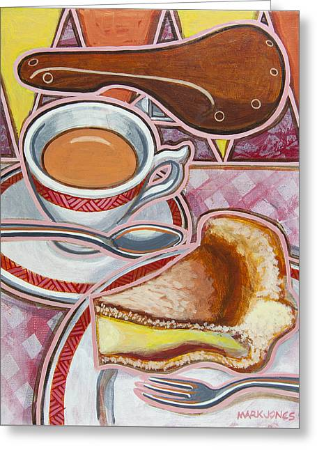 Mark Howard Jones Greeting Cards - Eroica Britannia and Bakewell Pudding on Pink Greeting Card by Mark Howard Jones