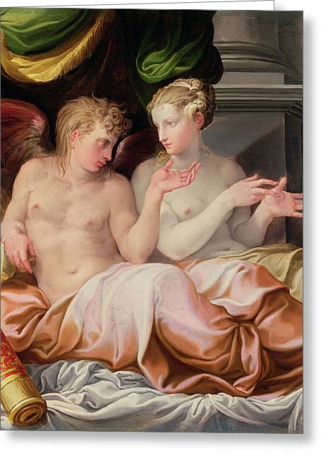 16th Century Greeting Cards - Eros and Psyche Greeting Card by Niccolo dell Abate