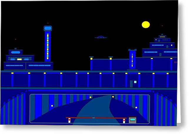 Etc. Paintings Greeting Cards - Error 50 One At Night. Greeting Card by Richard Magin