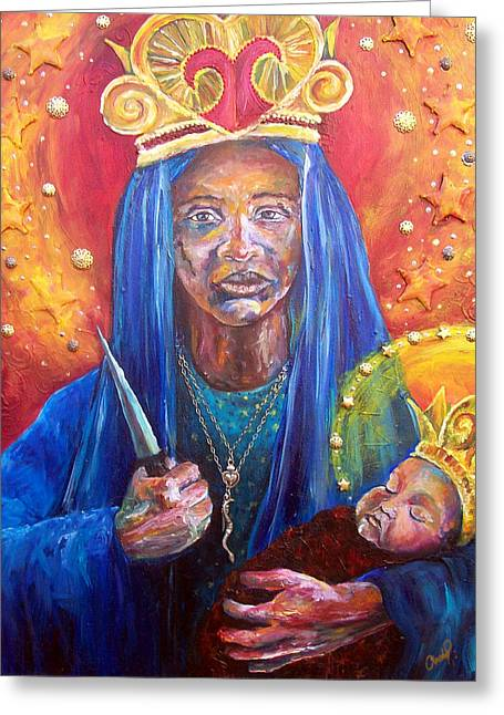 Vodou Paintings Greeting Cards - Erzulie Dantor Portrait Greeting Card by Christy  Freeman