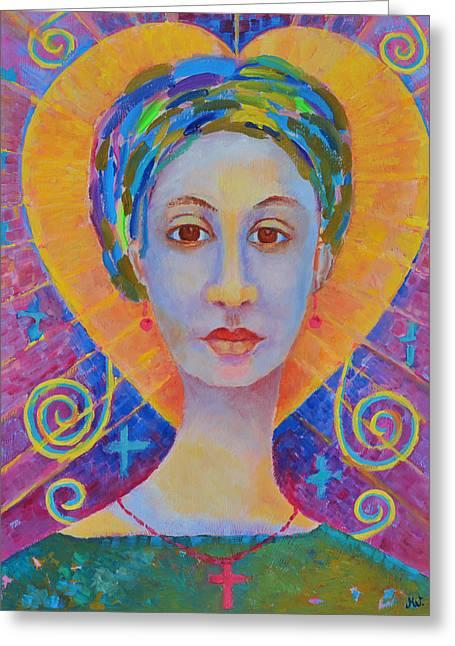 Erzulie Freda Painting. Ezili Freda Portrait Made In Poland By Polish Artist Magdalena Walulik Greeting Card by Magdalena Walulik