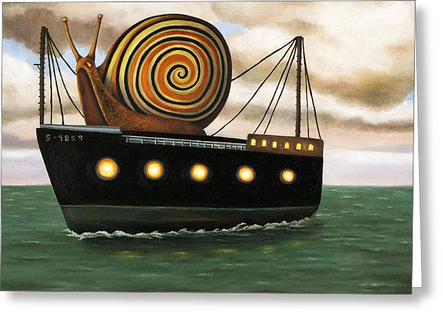 Port Holes Greeting Cards - Es Cargo Greeting Card by Leah Saulnier The Painting Maniac