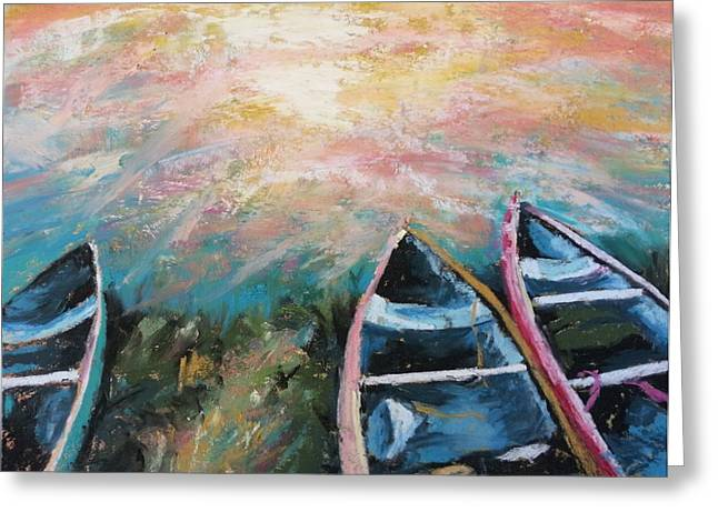 Canoe Pastels Greeting Cards - Escalante Canyon Sunrise Greeting Card by Becky Chappell