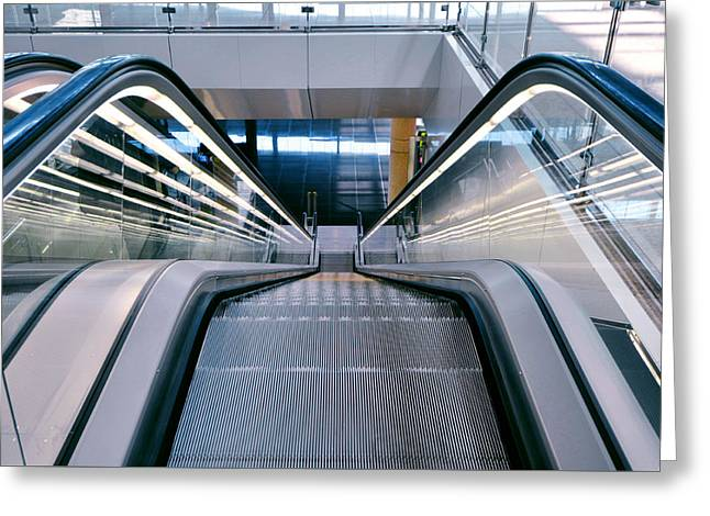 Industrial Background Greeting Cards - Escalator in an airport  Greeting Card by Eduardo Huelin