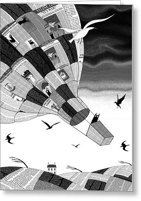 Hot Air Greeting Cards - Escape Greeting Card by Andrew Hitchen