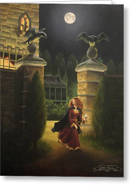 Manor Greeting Cards - Escape from Raven Manor Greeting Card by Karen Coombes