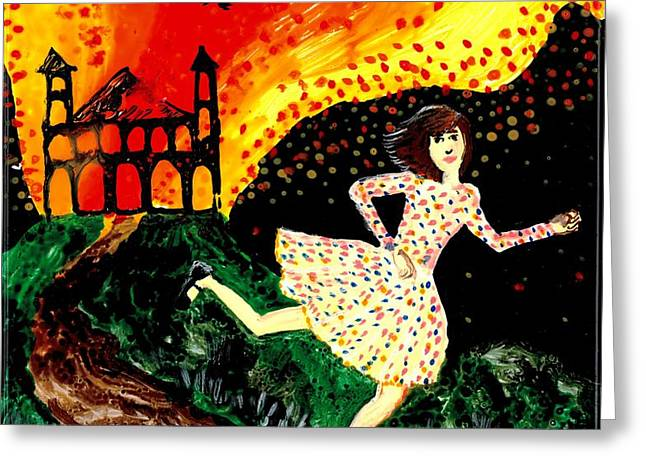 Escape from the burning house Greeting Card by Sushila Burgess