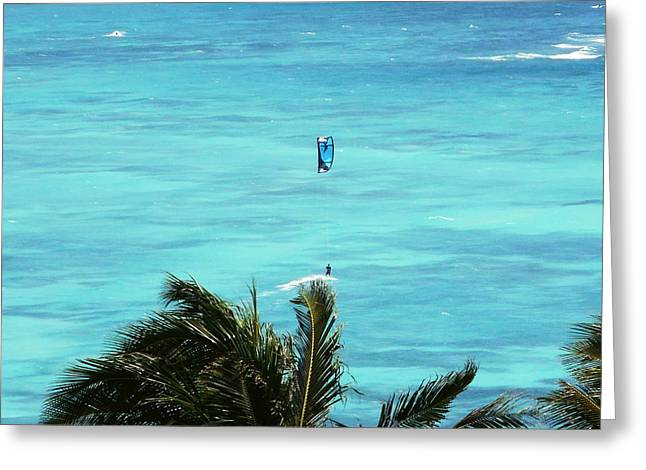 Kite Surfing Paintings Greeting Cards - Escaping the Island Greeting Card by Dietmar Scherf