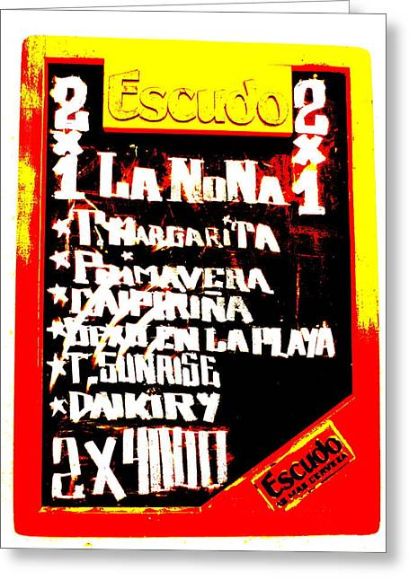 Escudo Bar Menu In Santiago  Greeting Card by Funkpix Photo Hunter