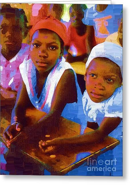 Ethnic Print Greeting Cards - Esperance en Dieu Greeting Card by Diane E Berry