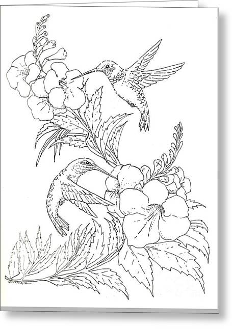 Pen Greeting Cards - Esperanza Duet - black and white Greeting Card by Sue Bonnar