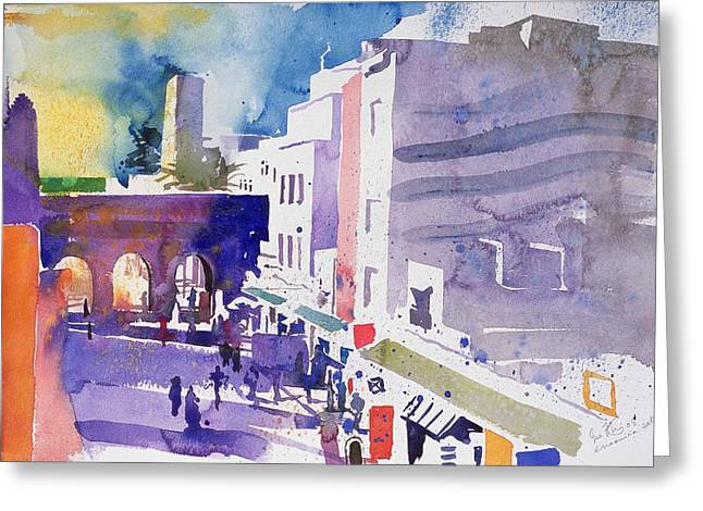 Contemporary Paintings Greeting Cards - Essaouira Gate Greeting Card by Simon Fletcher