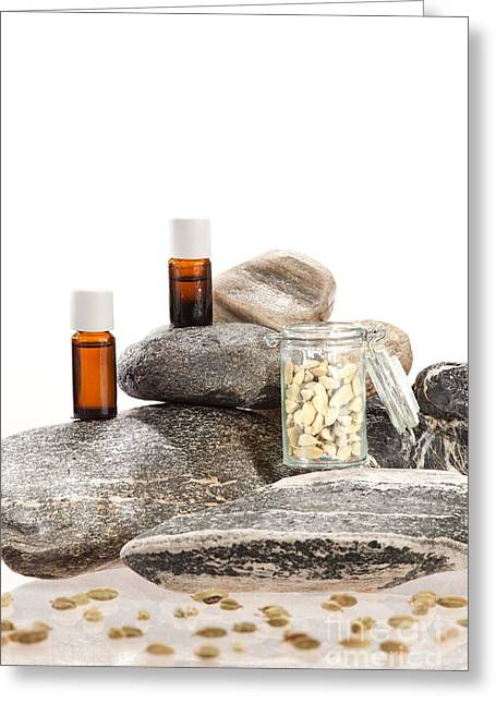 Spice Greeting Cards - Essential oil from cardamom Greeting Card by Wolfgang Steiner