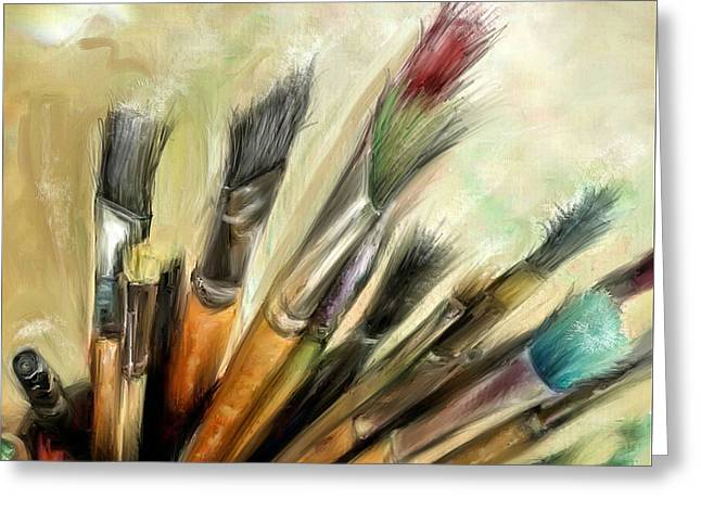 Essentials... Tools Of The Trade Greeting Card by Mark Tonelli