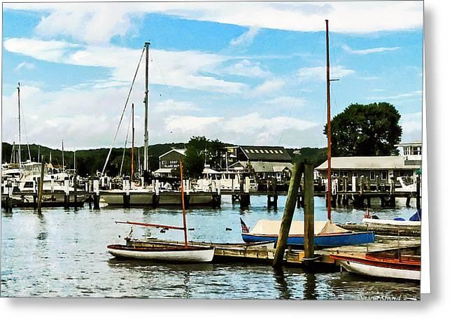 Docked Sailboats Greeting Cards - Essex CT Marina Greeting Card by Susan Savad
