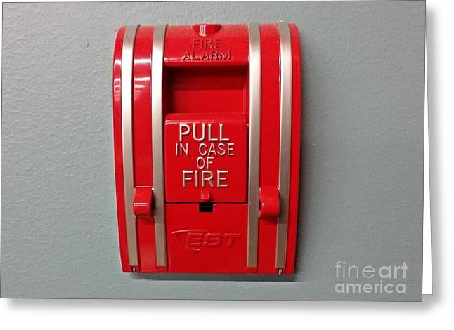 Grocery Store Greeting Cards - EST fire alarm pull station Greeting Card by Ben Schumin