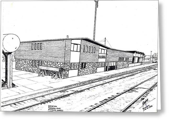 Division Drawings Greeting Cards - Estacion Madera Chih.Mex Greeting Card by Cleofas Orozco Blancarte