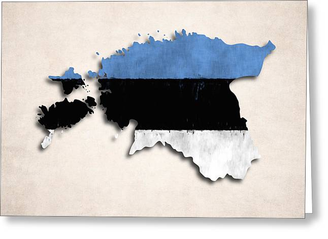 Estonia Greeting Cards - Estonia map art with flag design Greeting Card by World Art Prints And Designs