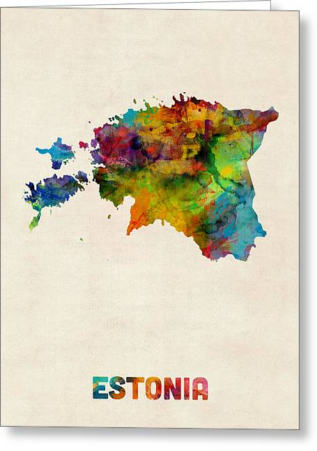Austria Greeting Cards - Estonia Watercolor Map Greeting Card by Michael Tompsett
