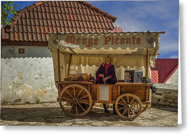 Tallinn Mixed Media Greeting Cards - Estonian Food Truck Greeting Card by Capt Gerry Hare