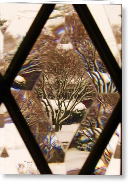 Anna Villarreal Garbis Greeting Cards - Etched Window View Greeting Card by Anna Villarreal Garbis