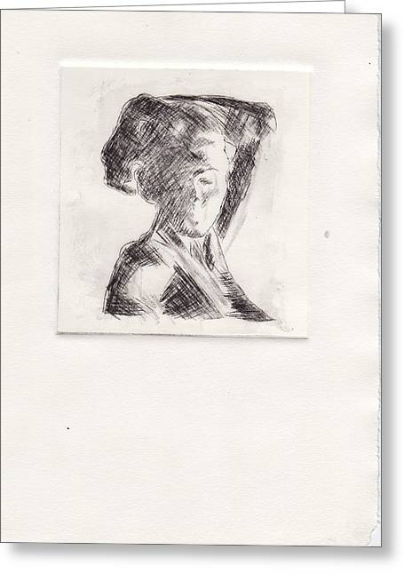 Recently Sold -  - Drypoint Greeting Cards - Etching of a woman March 2010 Greeting Card by Jonathan Deutsch