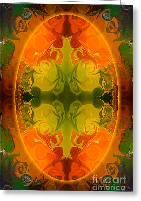 Abstract Digital Glass Greeting Cards - Eternal Energies Abstract Mandala Art by Omashte Greeting Card by Omaste Witkowski