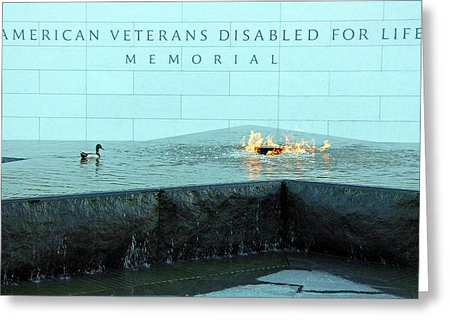 President Barack Obama Photographs Greeting Cards - Eternal Flame At Disabled American Veterans Memorial Greeting Card by Cora Wandel