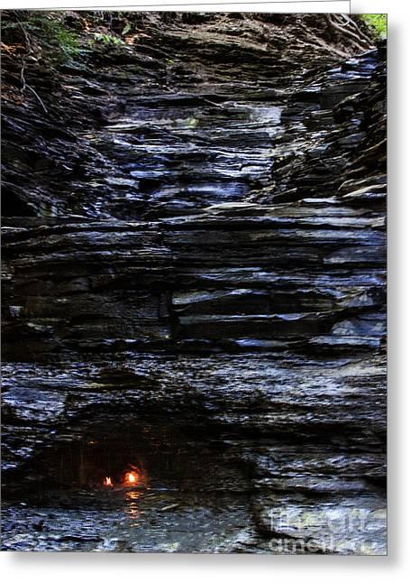 Eternal Flow Photographs Greeting Cards - Eternal Flame Falls Greeting Card by Darleen Stry