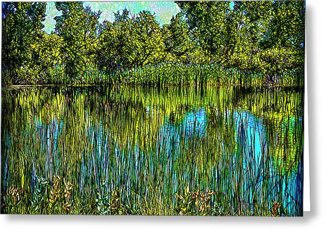 Mystical Landscape Greeting Cards - Deep Lake Reflections Greeting Card by Joel Bruce Wallach