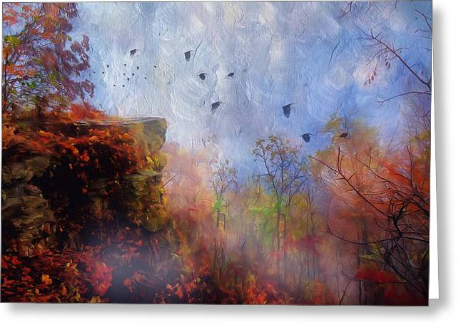 Mystical Landscape Mixed Media Greeting Cards - Ethereal Autumn Greeting Card by Georgiana Romanovna