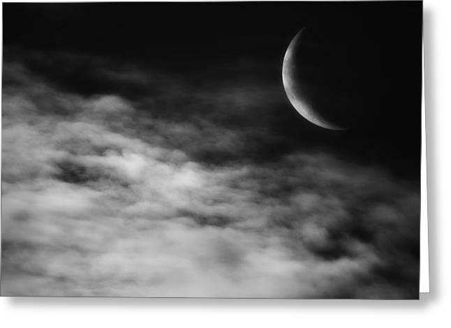 Ethereal Crescent Moon Greeting Card by Bill Wakeley