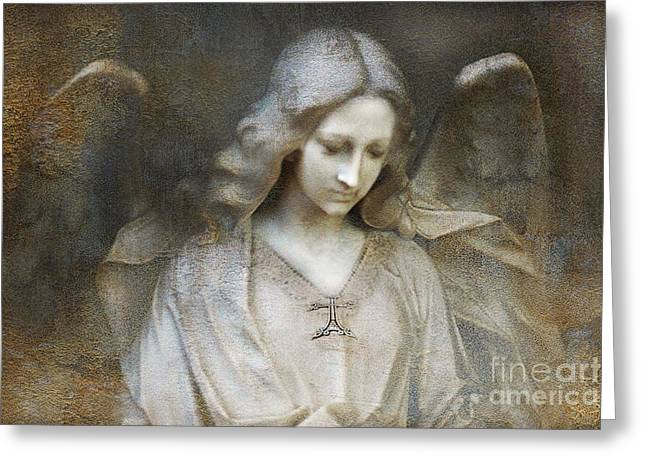 Angel Art Greeting Cards - Ethereal Spiritual Stone Textured Angel In Prayer Greeting Card by Kathy Fornal