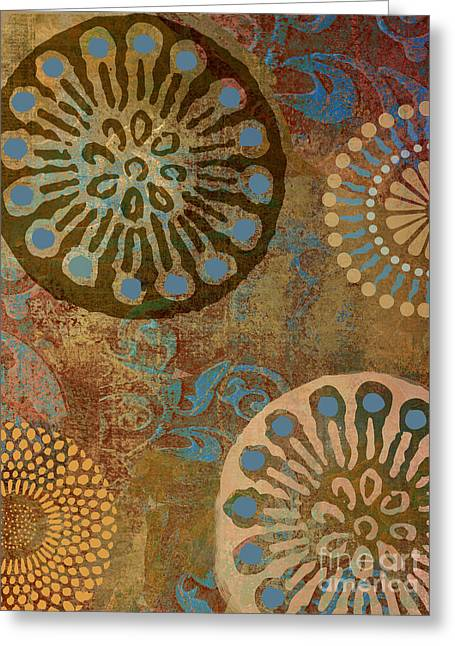 Patterns Paintings Greeting Cards - Etheric Circles Ethnic Art Pattern Greeting Card by Mindy Sommers